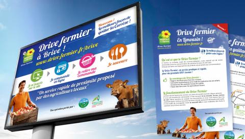 Affiche 4x3, flyer, stand de livraison - Drive fermier Limousin